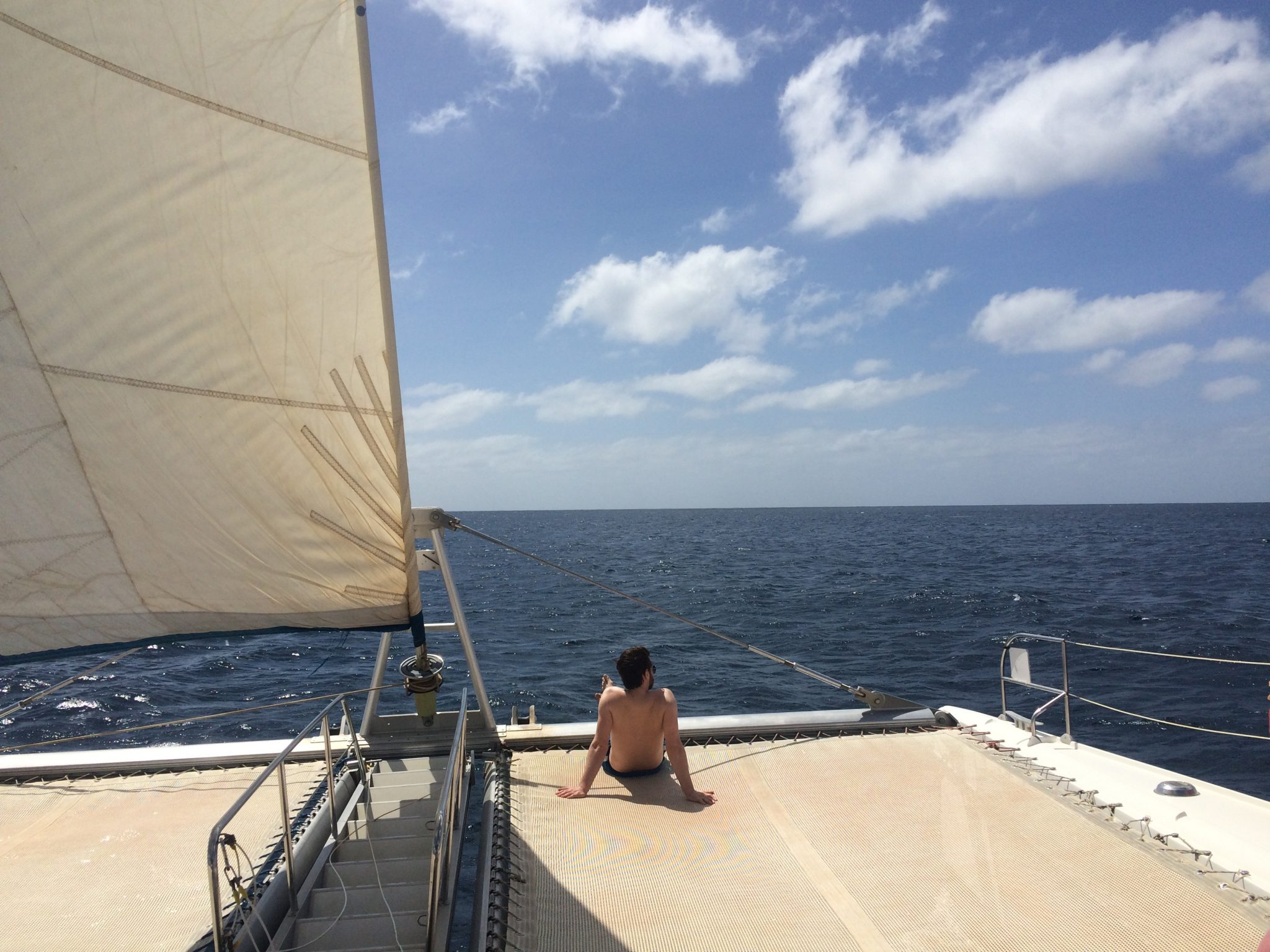 Relaxing on a catamaran, Sal Island, Cape Verde