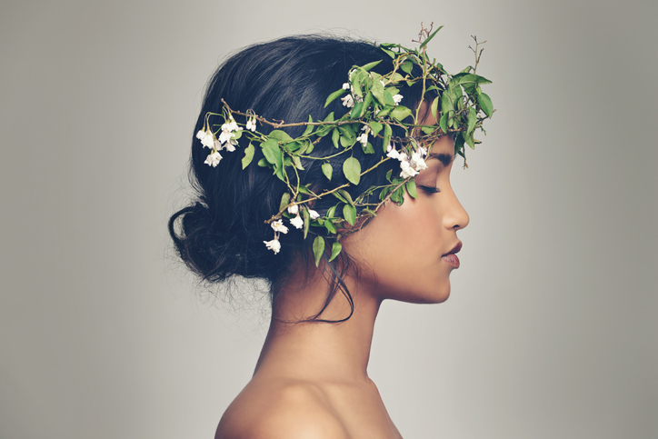Woman with a hairband made from plants