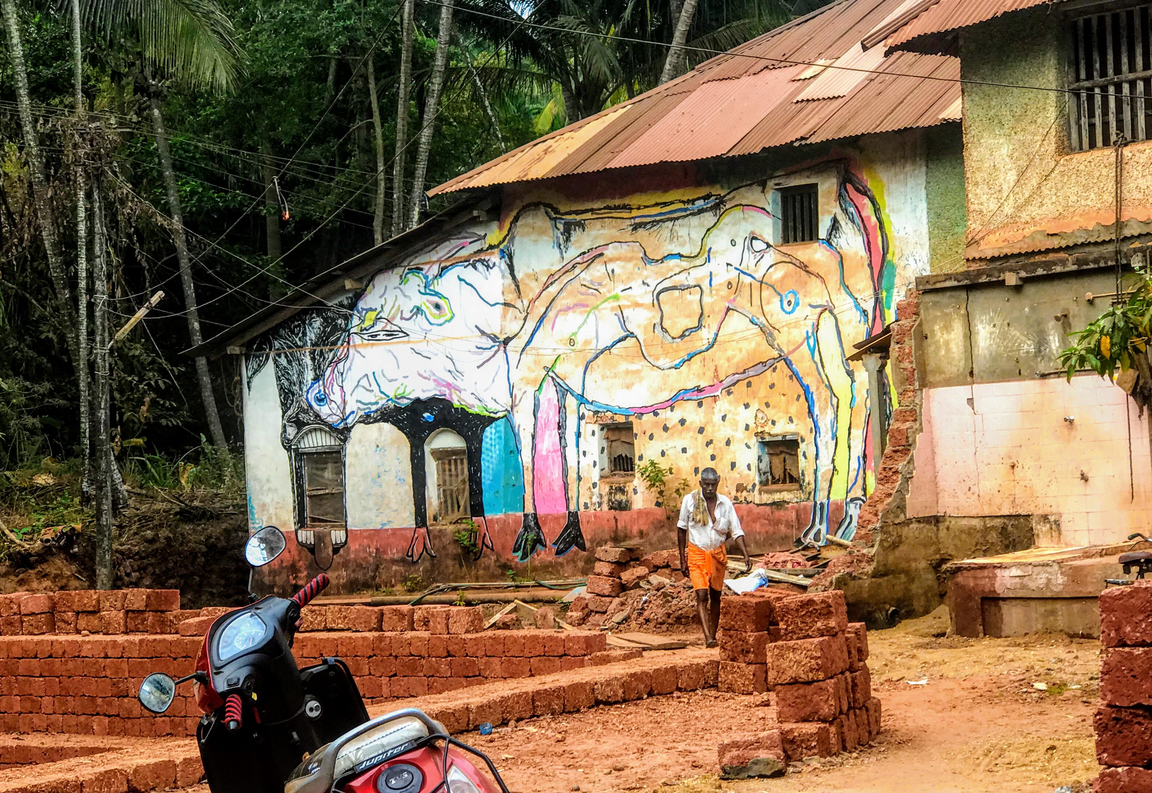 Cow mural, Gokarna, Karnataka