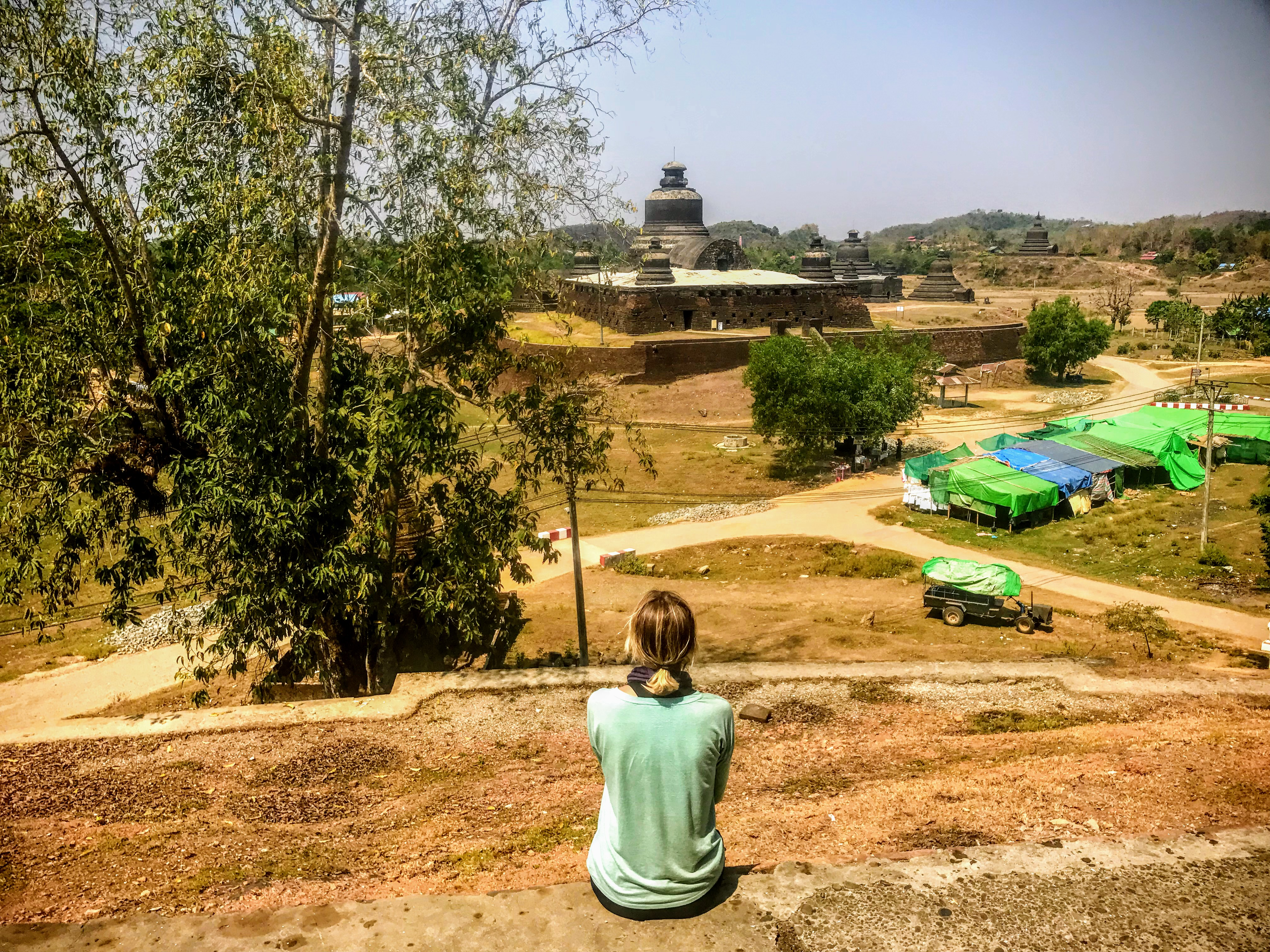 Looking at Htukkanthein Temple in Mrauk U, Myanmar