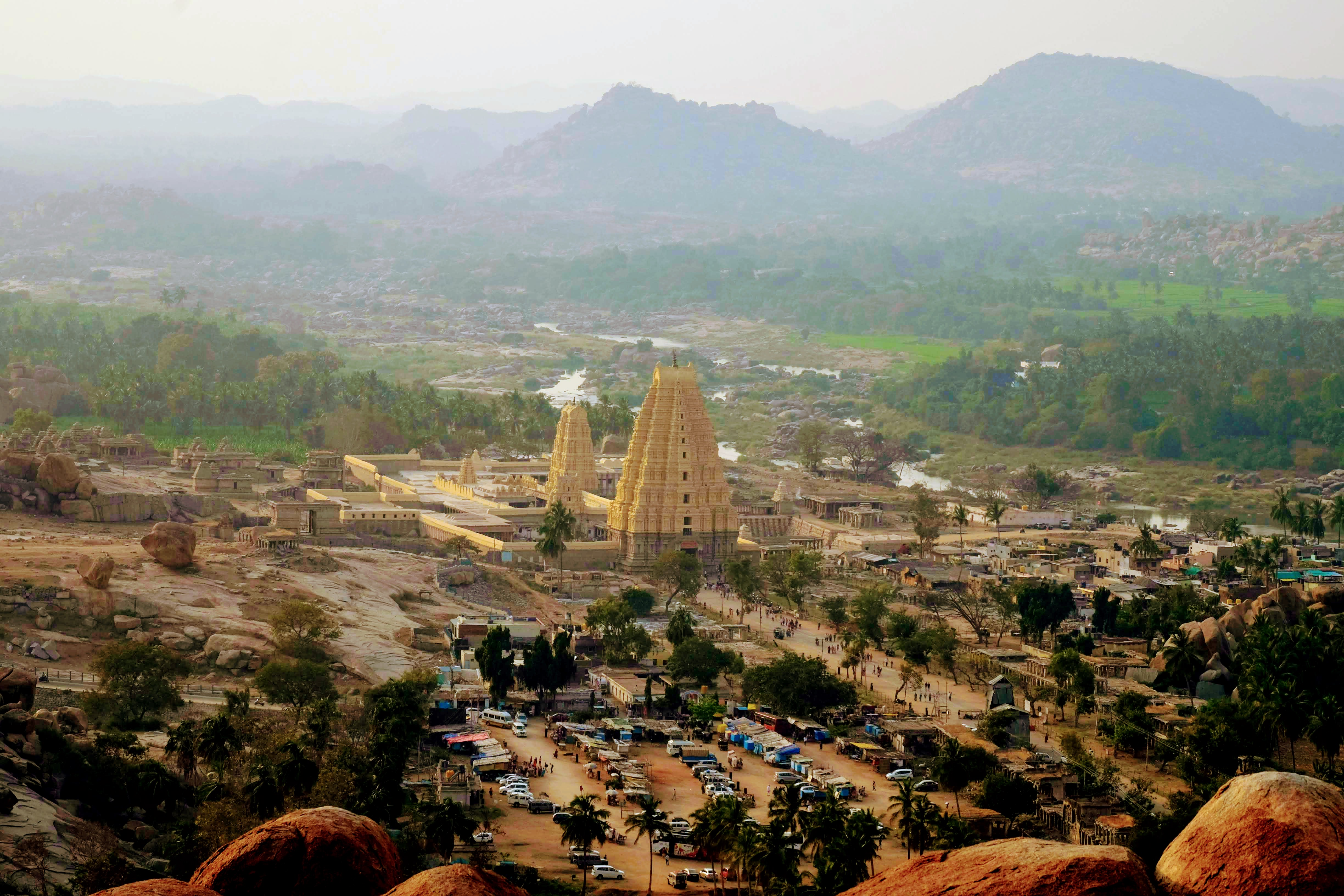Sri Virupaksha Temple view from Matanga Hill, Hampi, South India