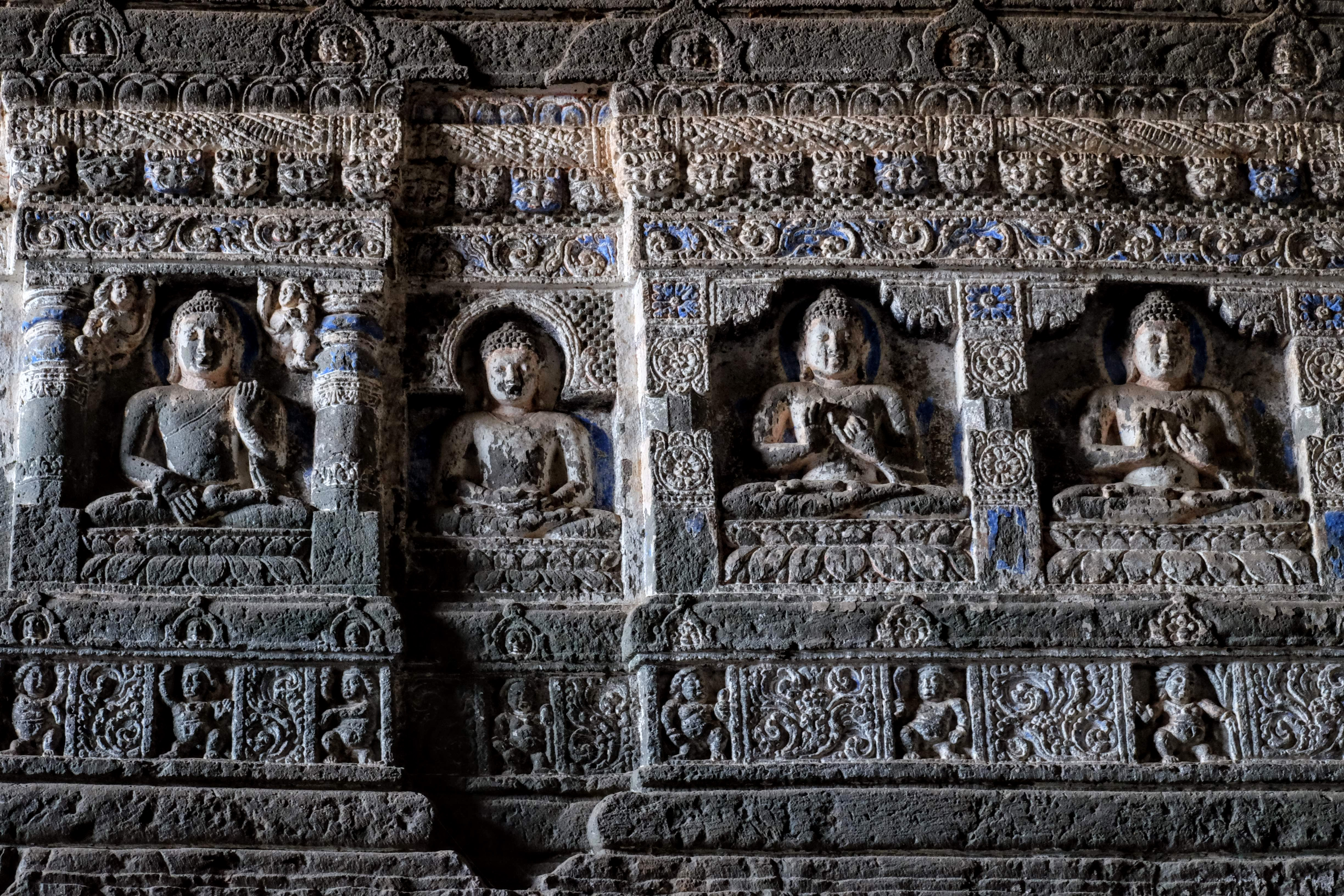 Carved Buddhas, Ajanta Caves, Maharashtra, South India