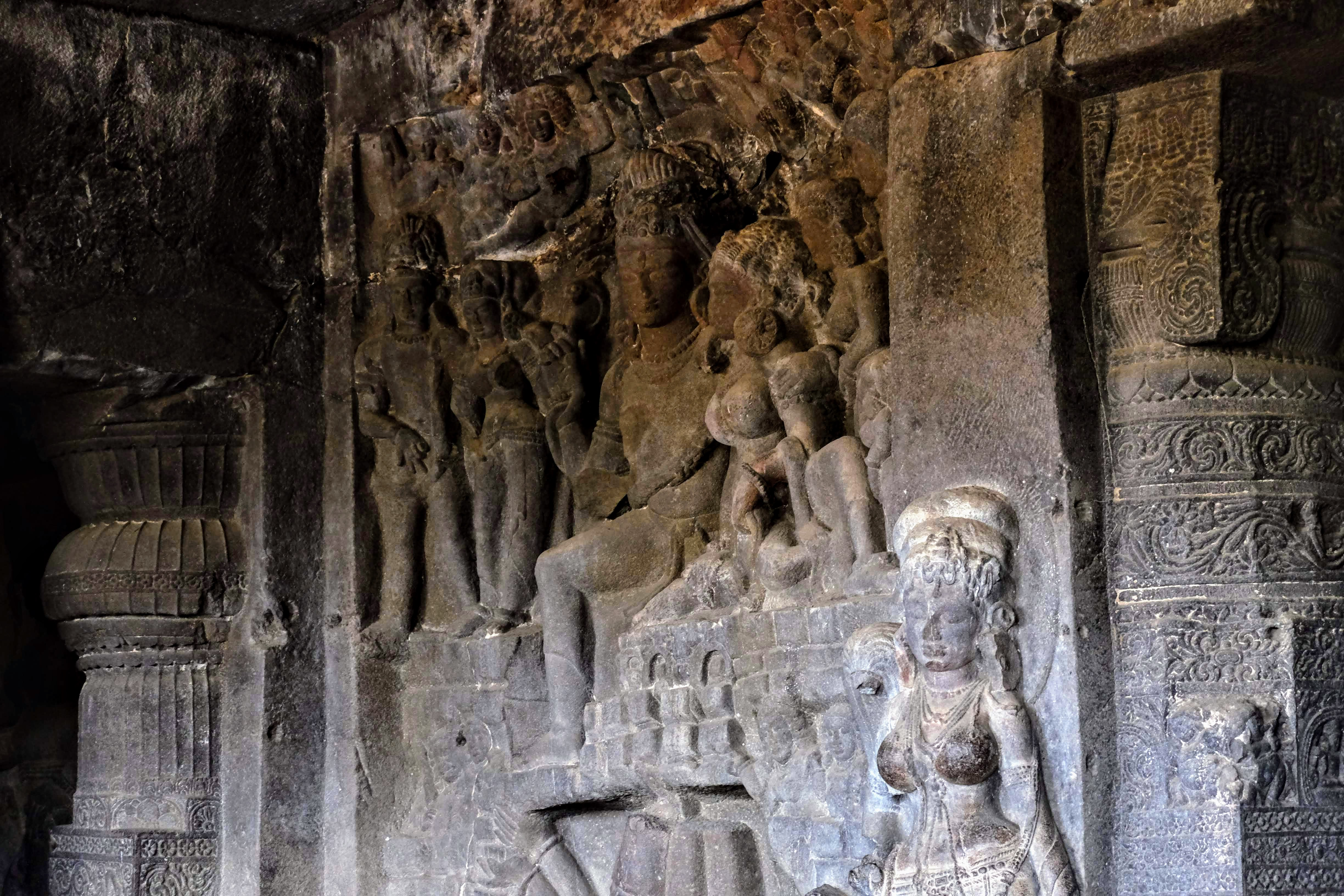 The Das Avatara (Ten incarnations of Vishnu) cave, Ellora