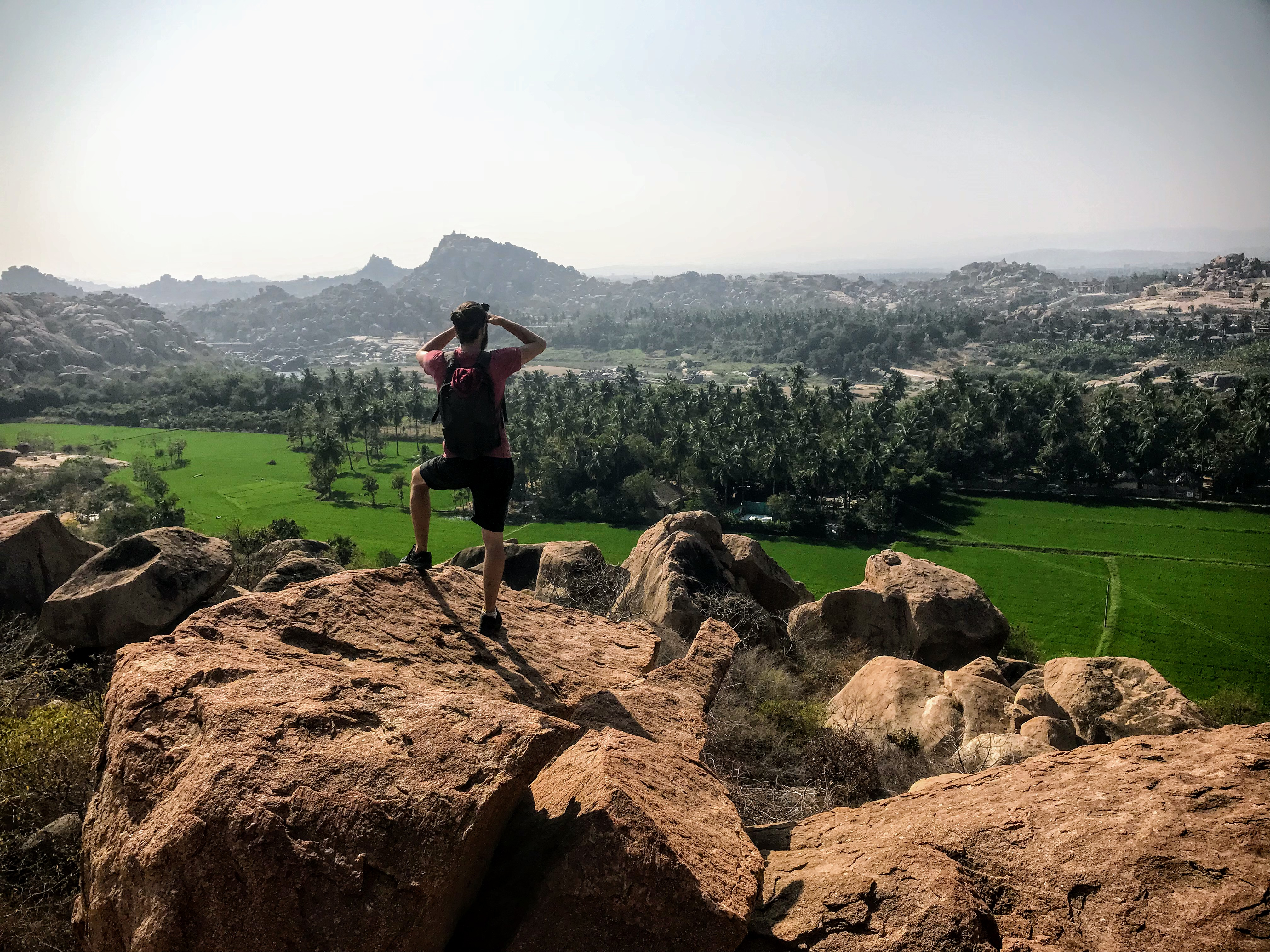 View from the boulders of the Tungabhadra River and Hampi, India