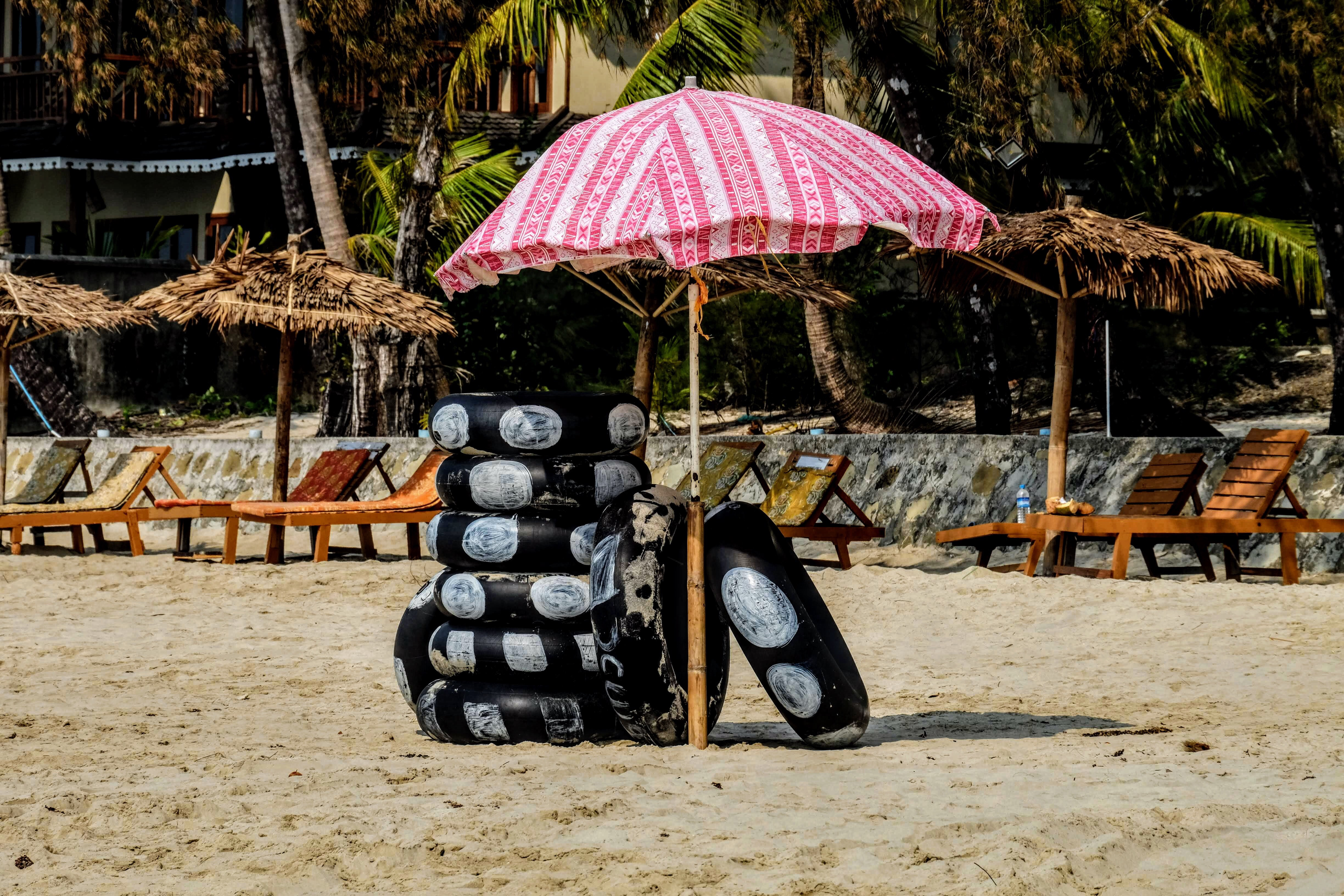 Rubber rings at Ngapali Beach in Myanmar