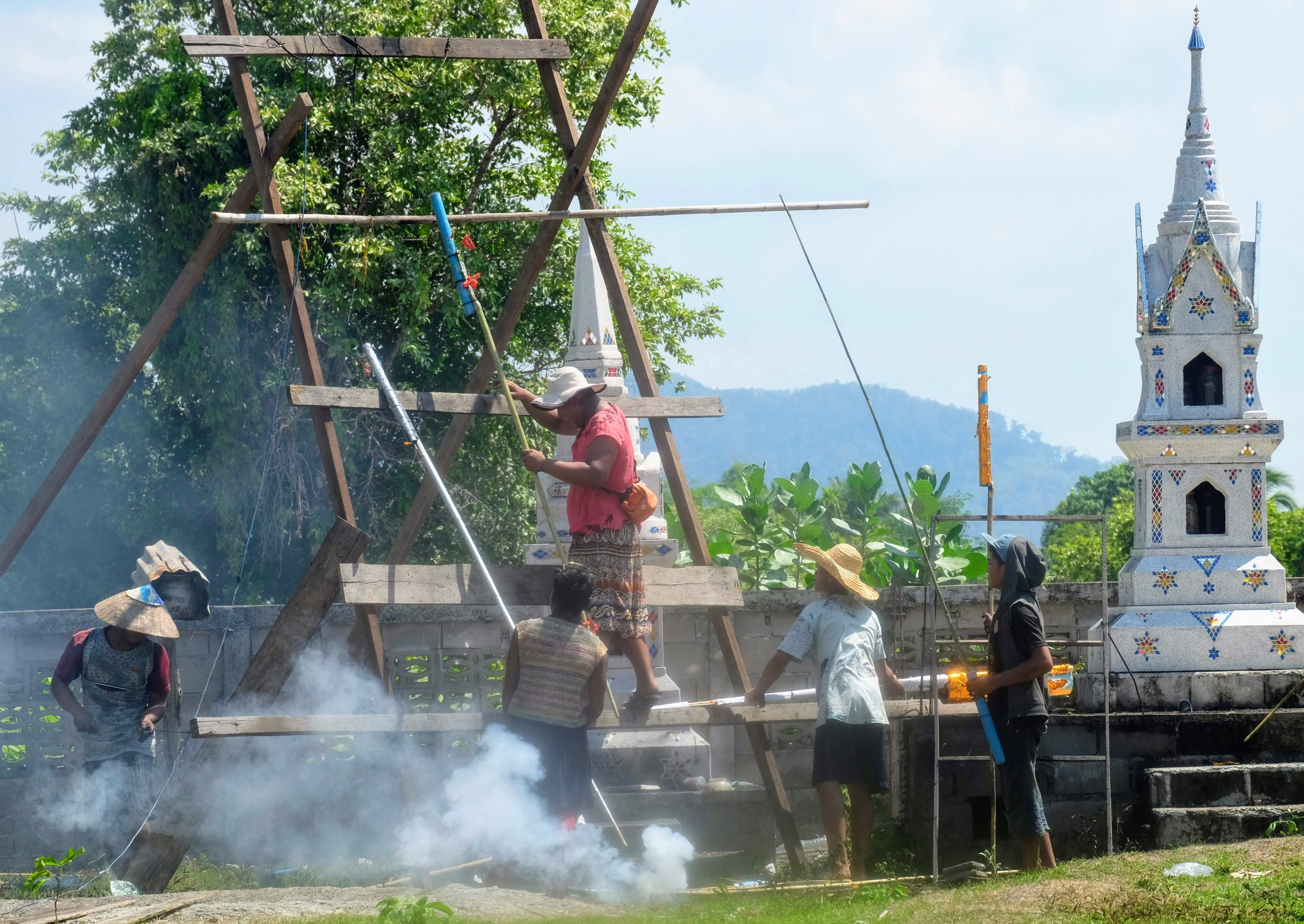 Setting up the rockets in Don Det, Laos