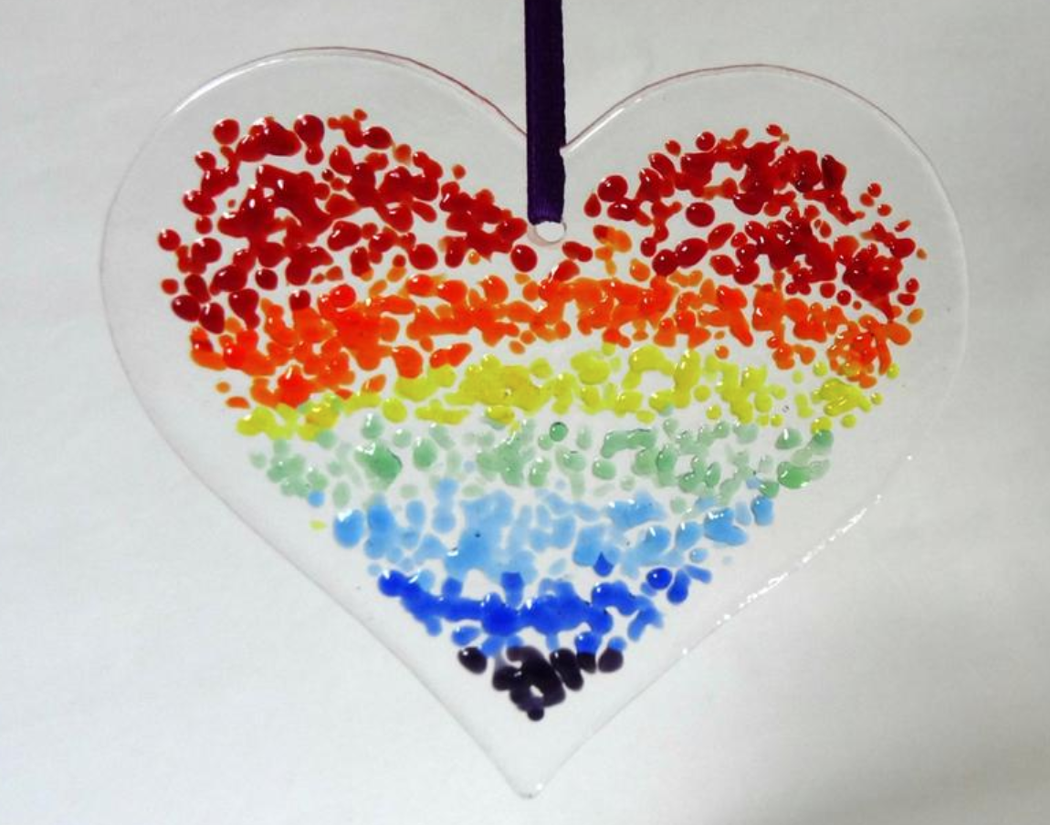 Rainbow glass heart, Etsy
