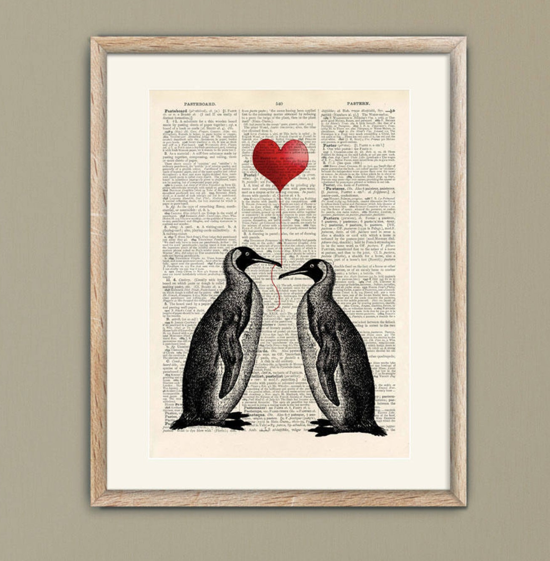Penguin illustration, Etsy