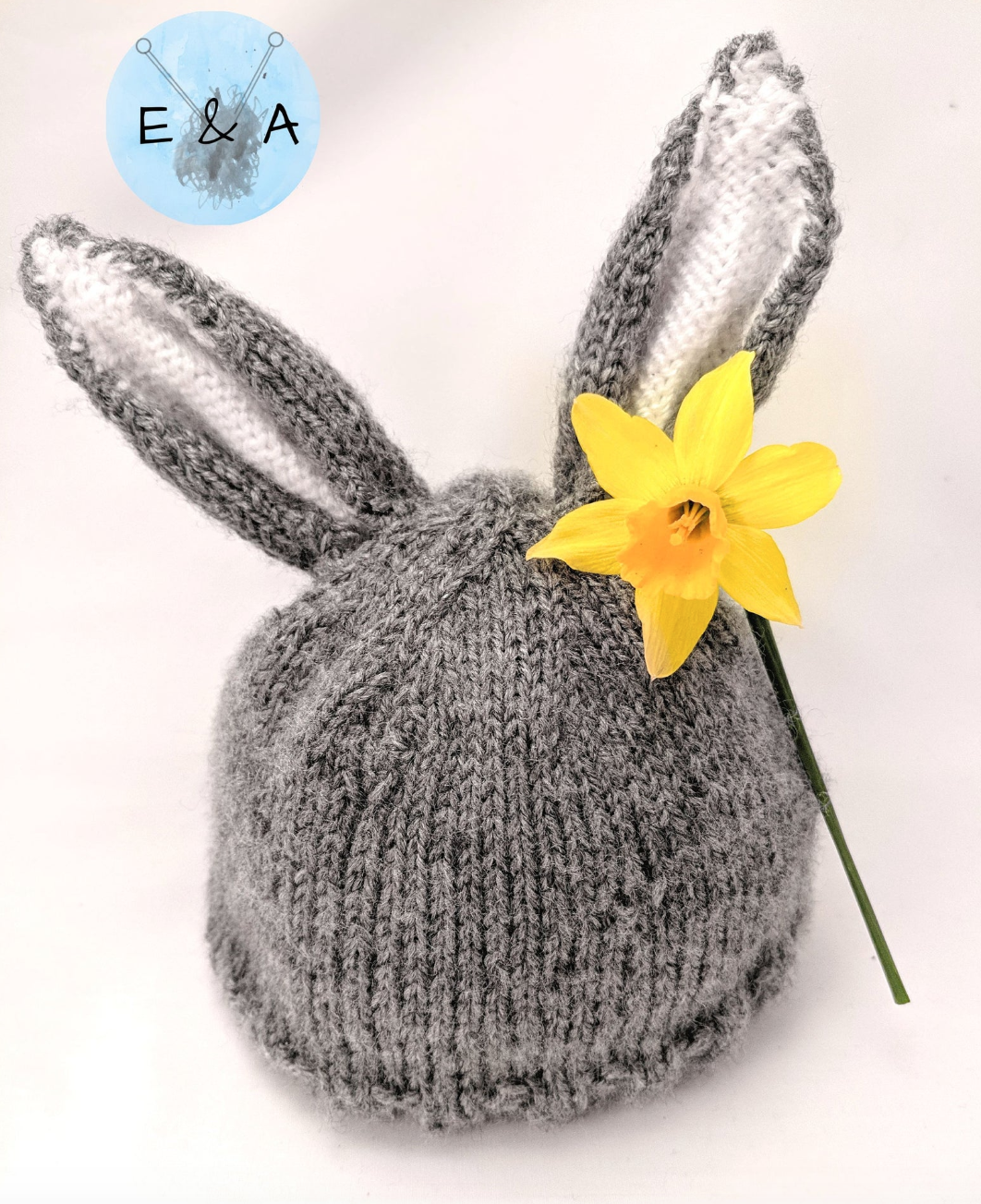Hand-knitted rabbit hat, Etsy