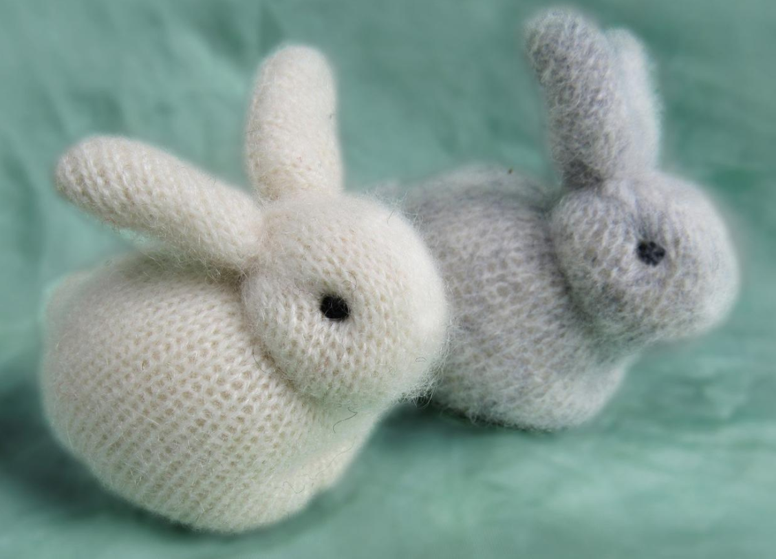 Knitted rabbit plushie, Etsy