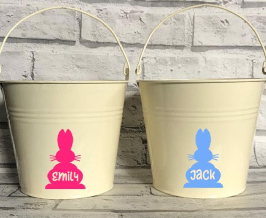 Personalised rabbit bucket, Etsy