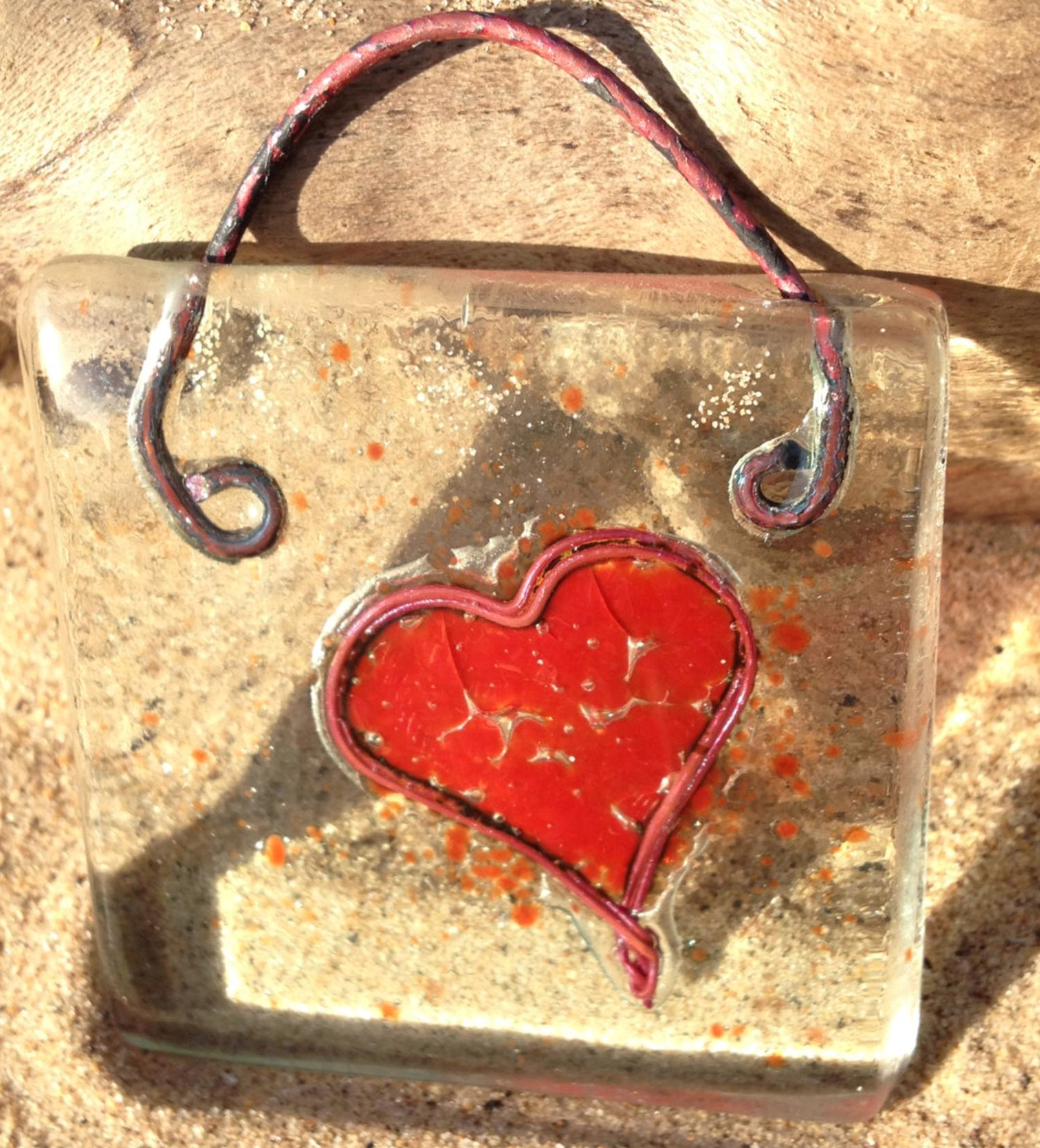 Mother's Day glass heart, Etsy