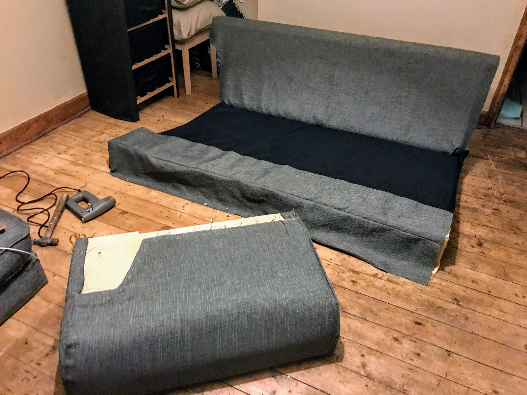 Lay pieces onto the sofa frame