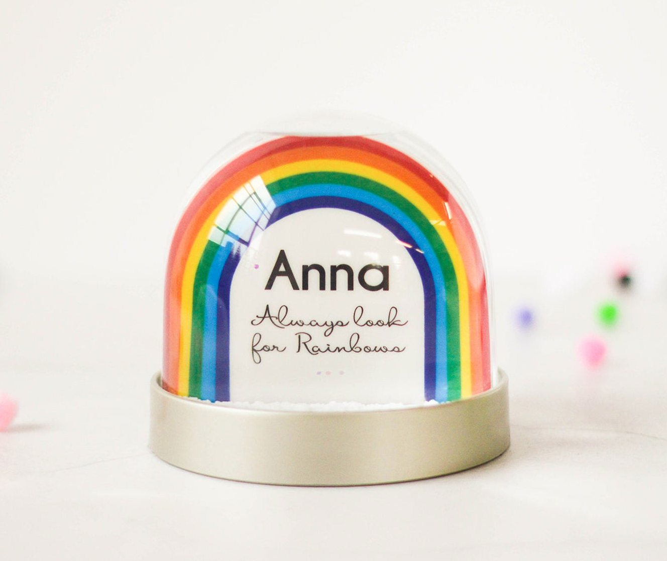 Personalised rainbow snow globe