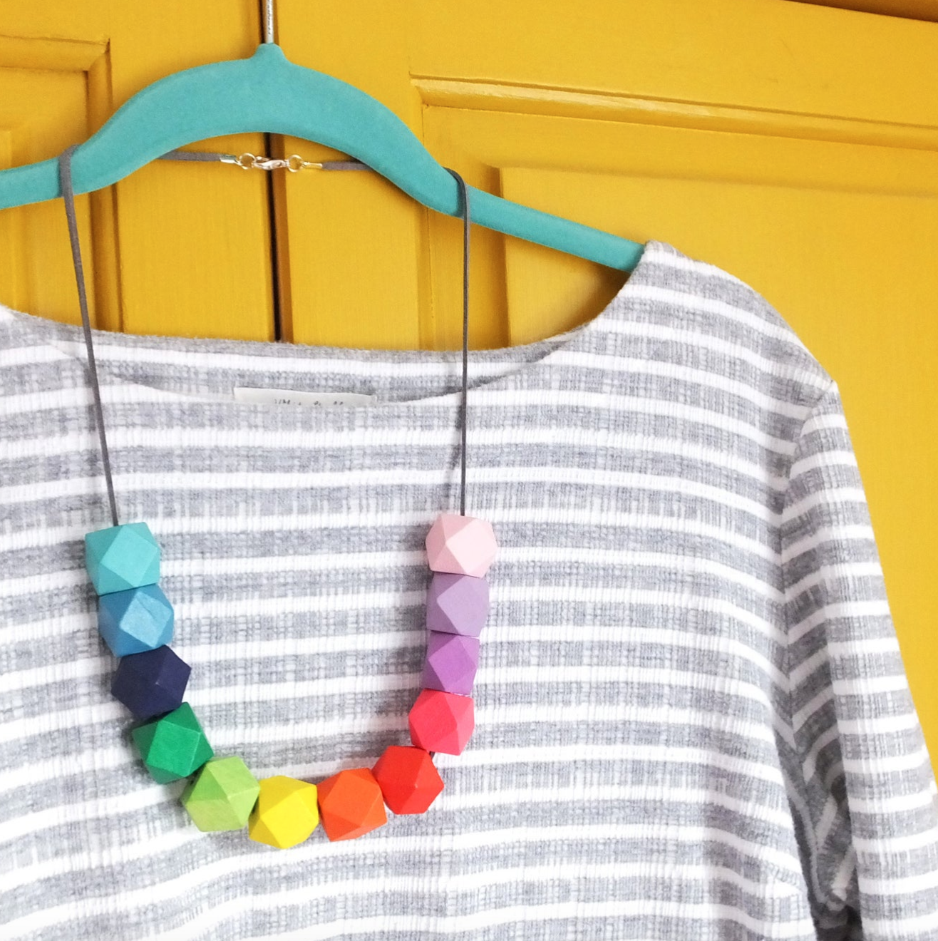 Rainbow geometric necklace