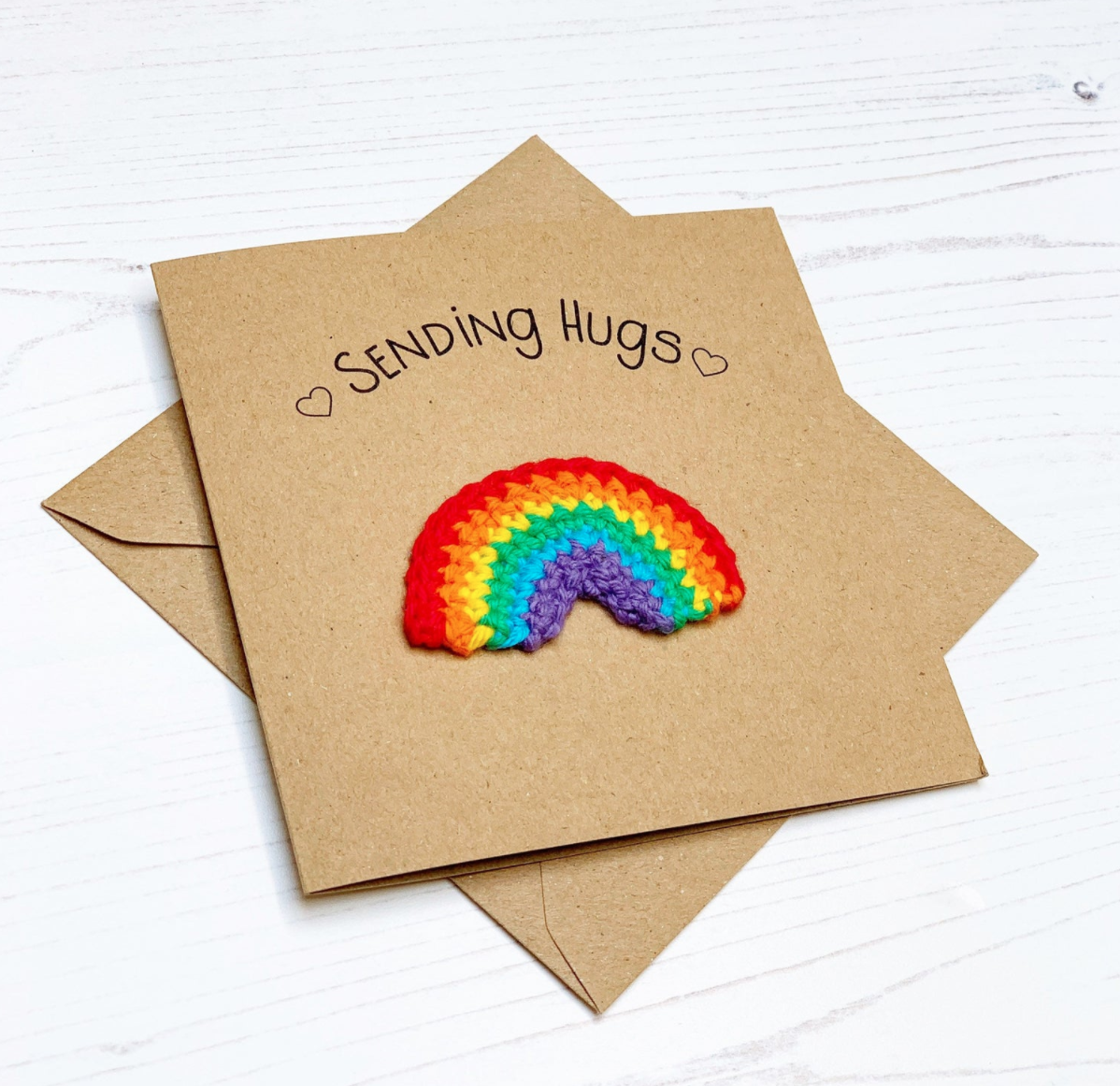 Rainbow crochet greeting card