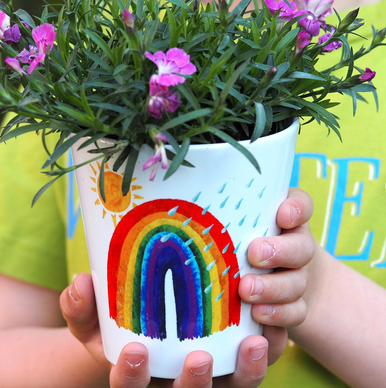Rainbow personalised plant pot