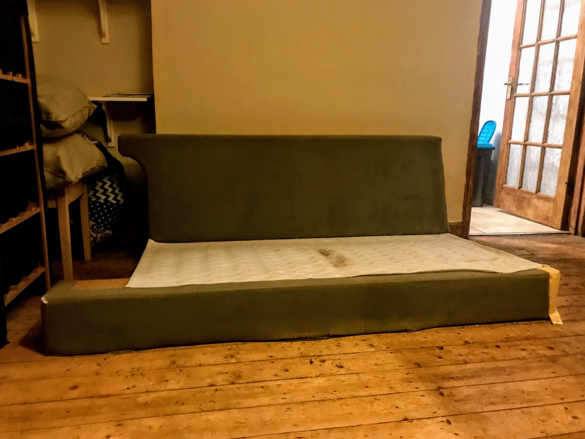 Sofa frame with foam covering
