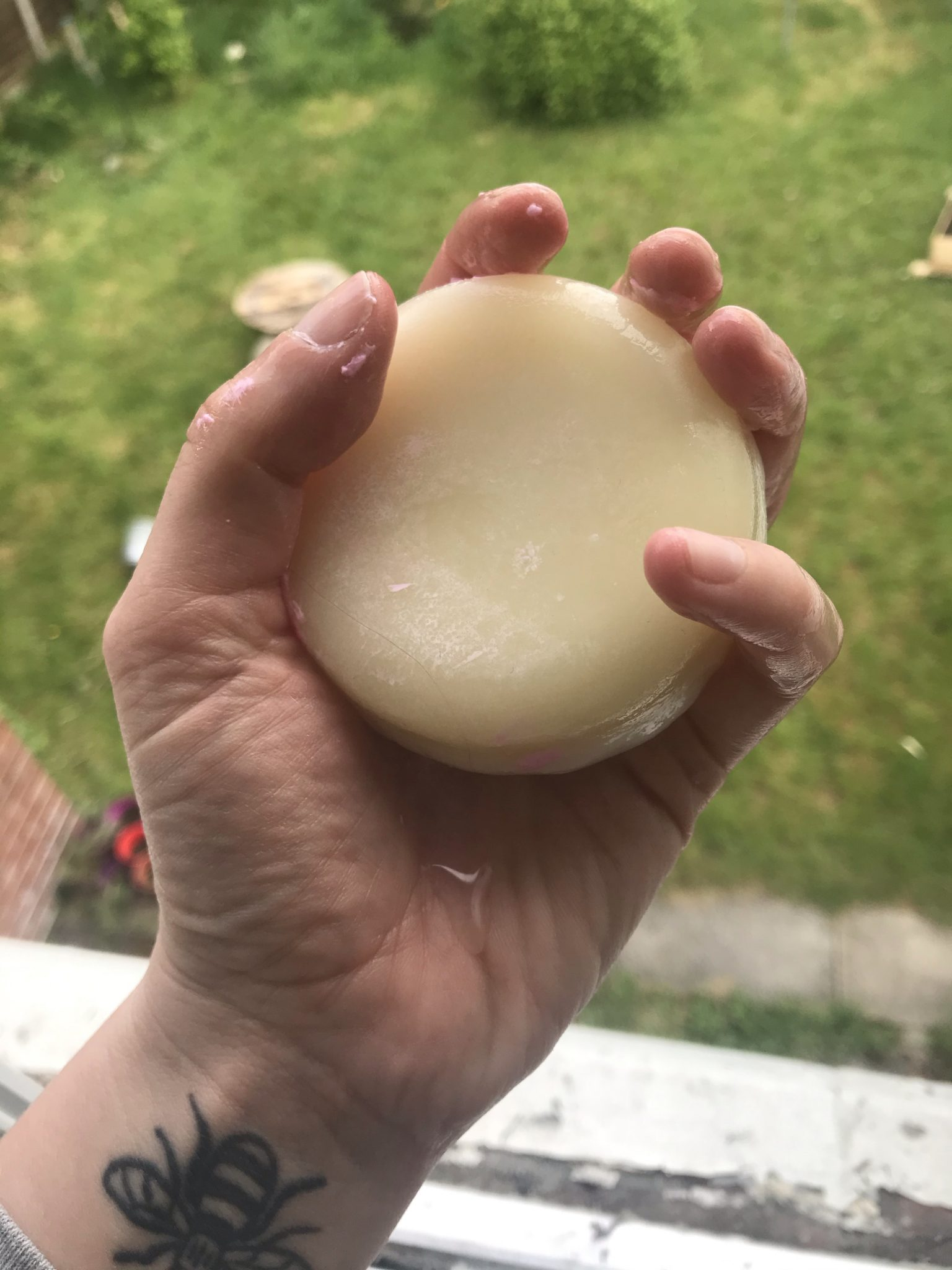 A soapy solid conditioner bar