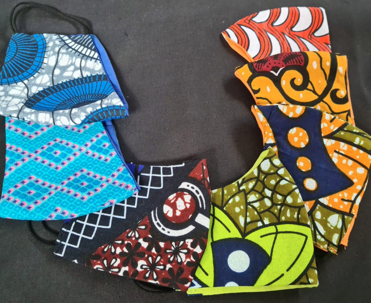 African wax print face masks, Etsy, UK