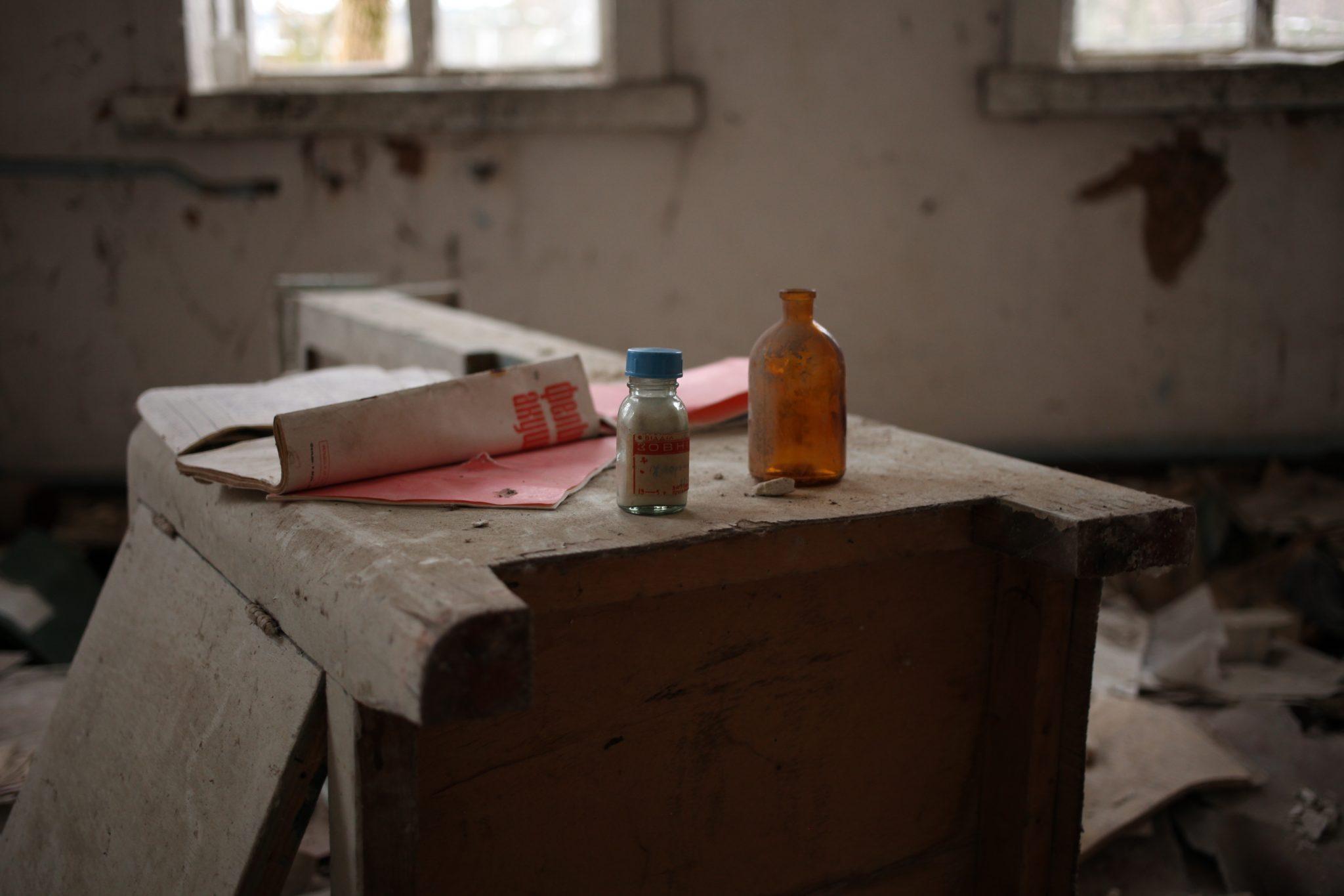 Bottles in old hospital in Zalissya