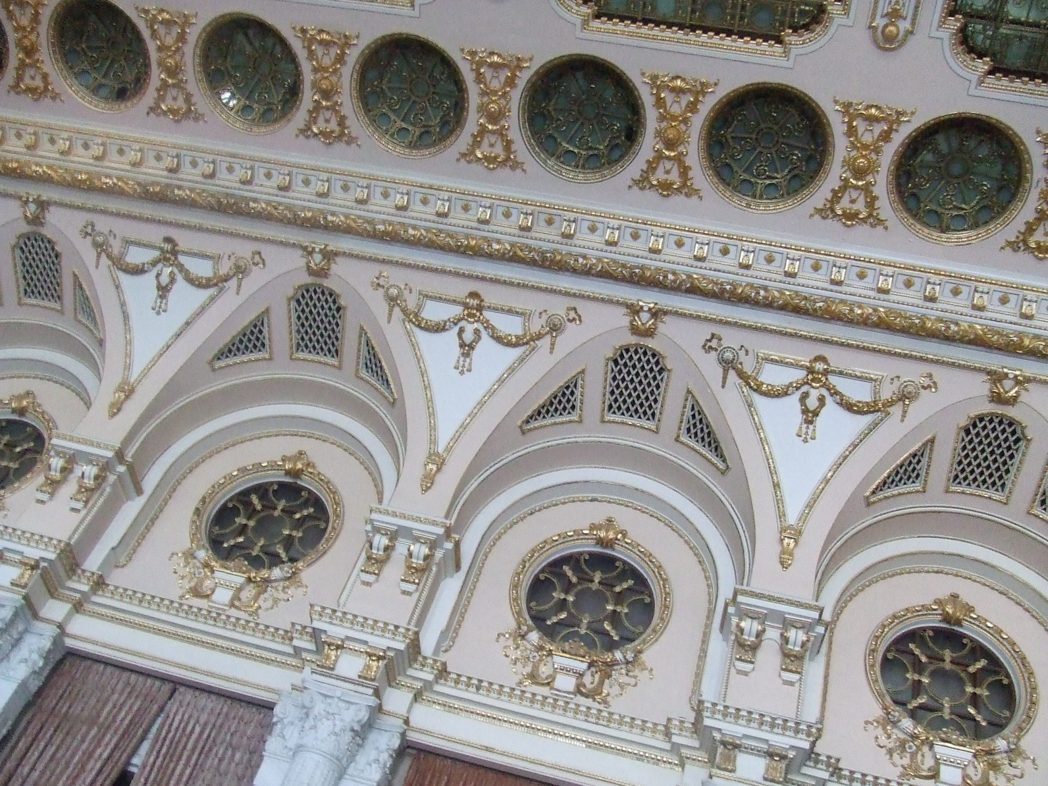 Ornate walls in the Palace of Parliament, Bucharest