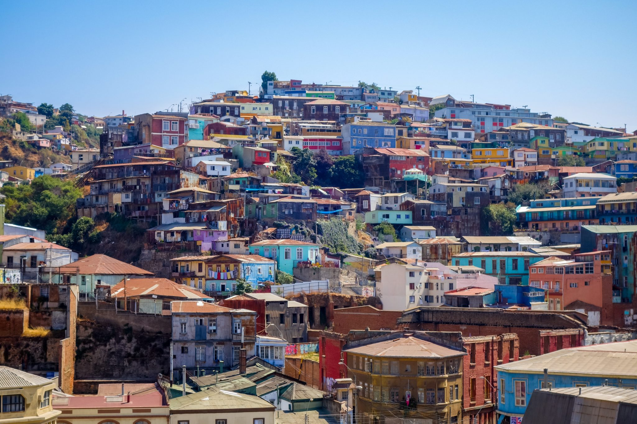 Colourful old houses in Valparaiso, Chile