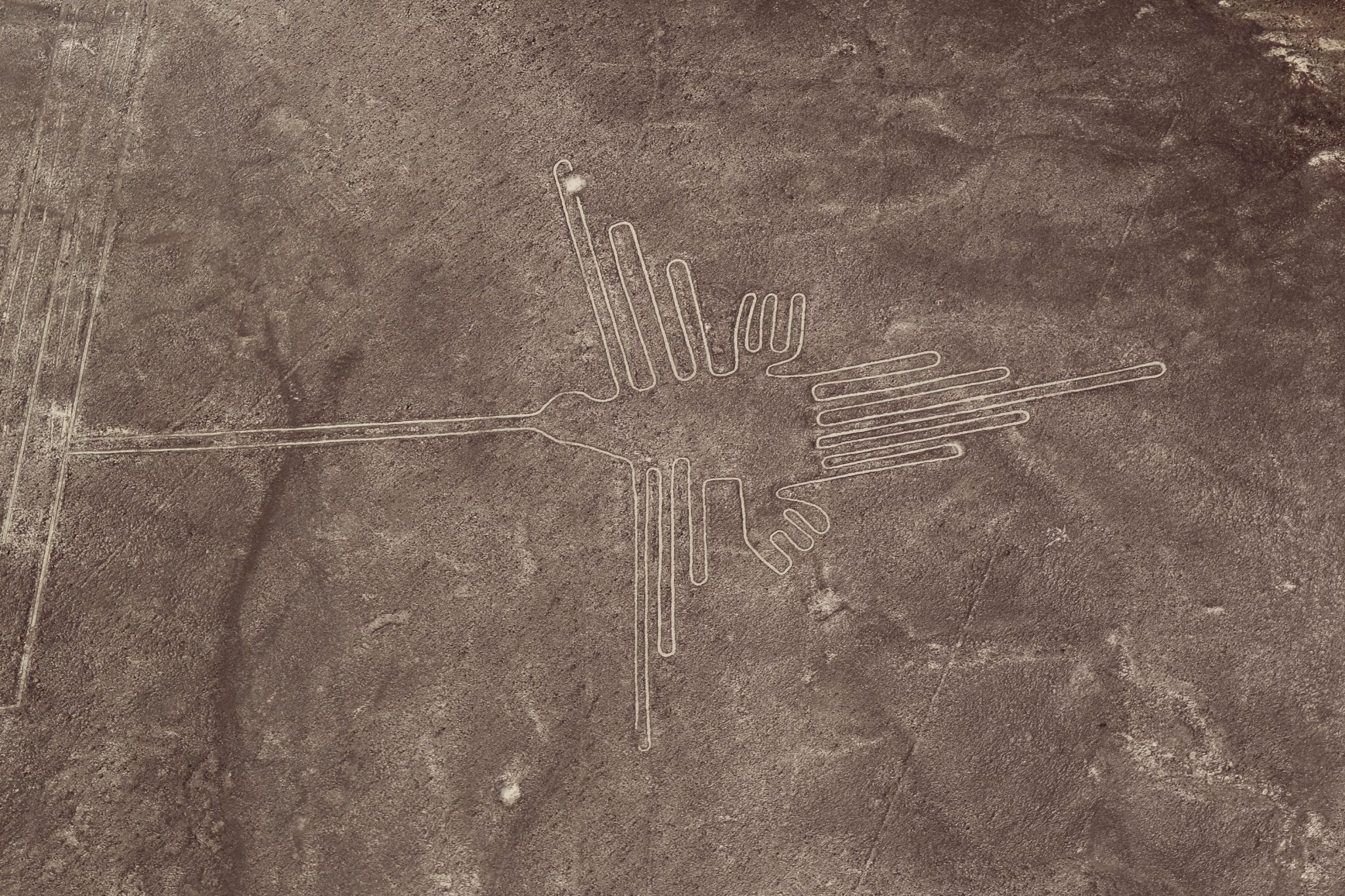 Aerial shot of the Nazca Lines in Nazca, Peru.