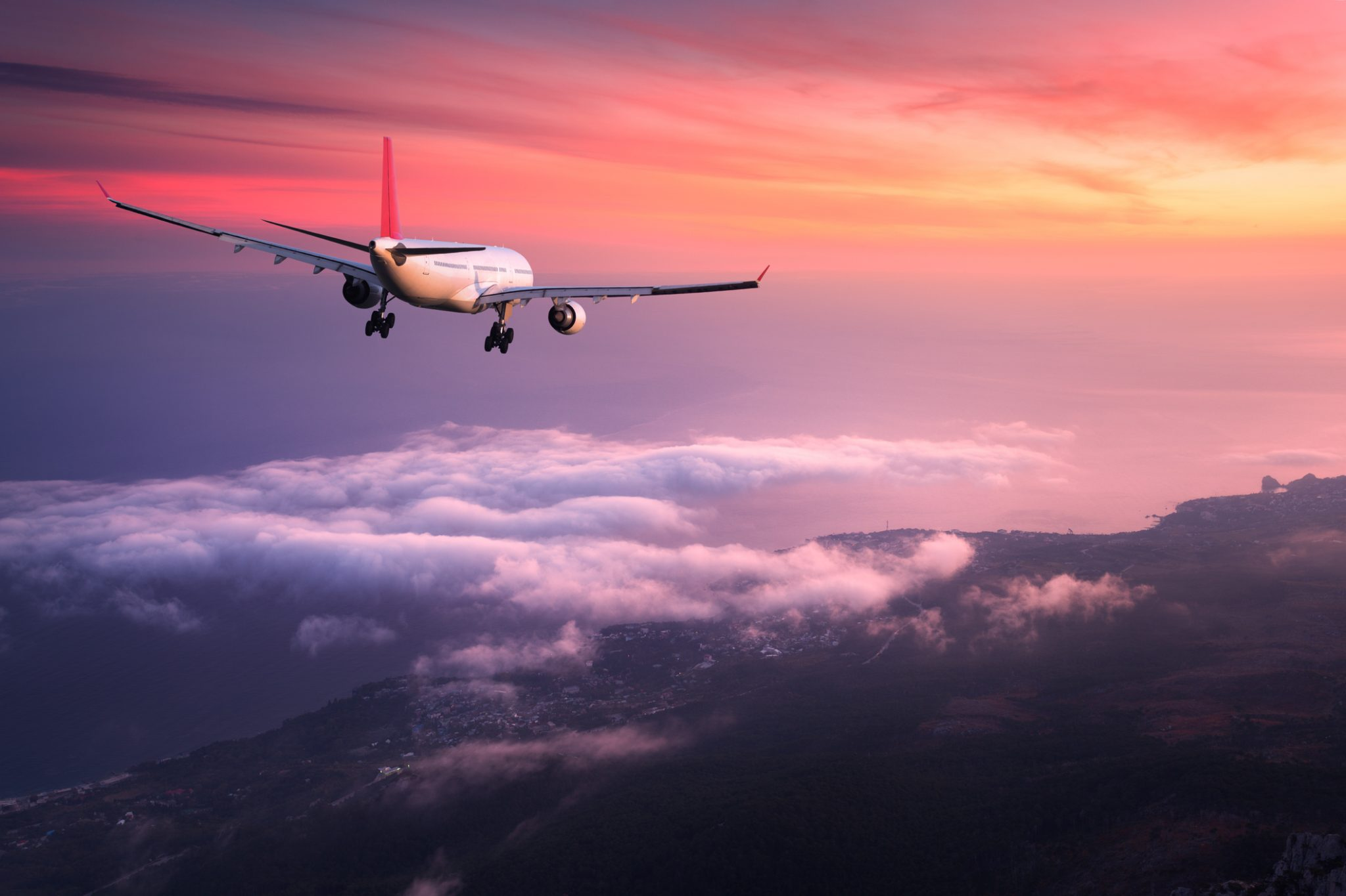 Aeroplane and sunset