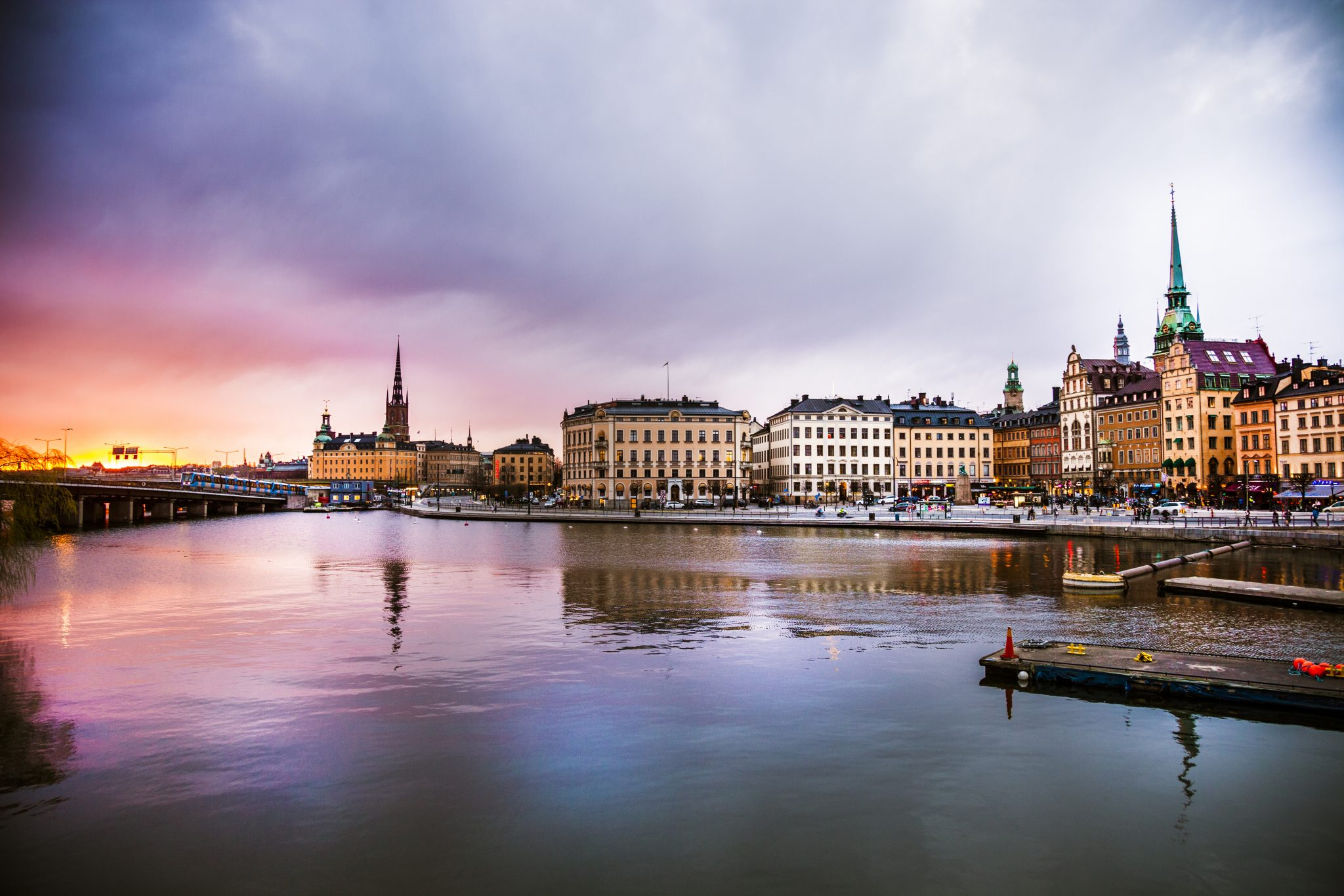 Stockholm, Sweden. Panorama of the old town and church at dusk