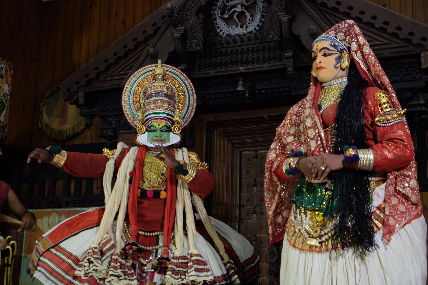 Bhima and Panchali at the Kathakali Centre in Fort Kochi