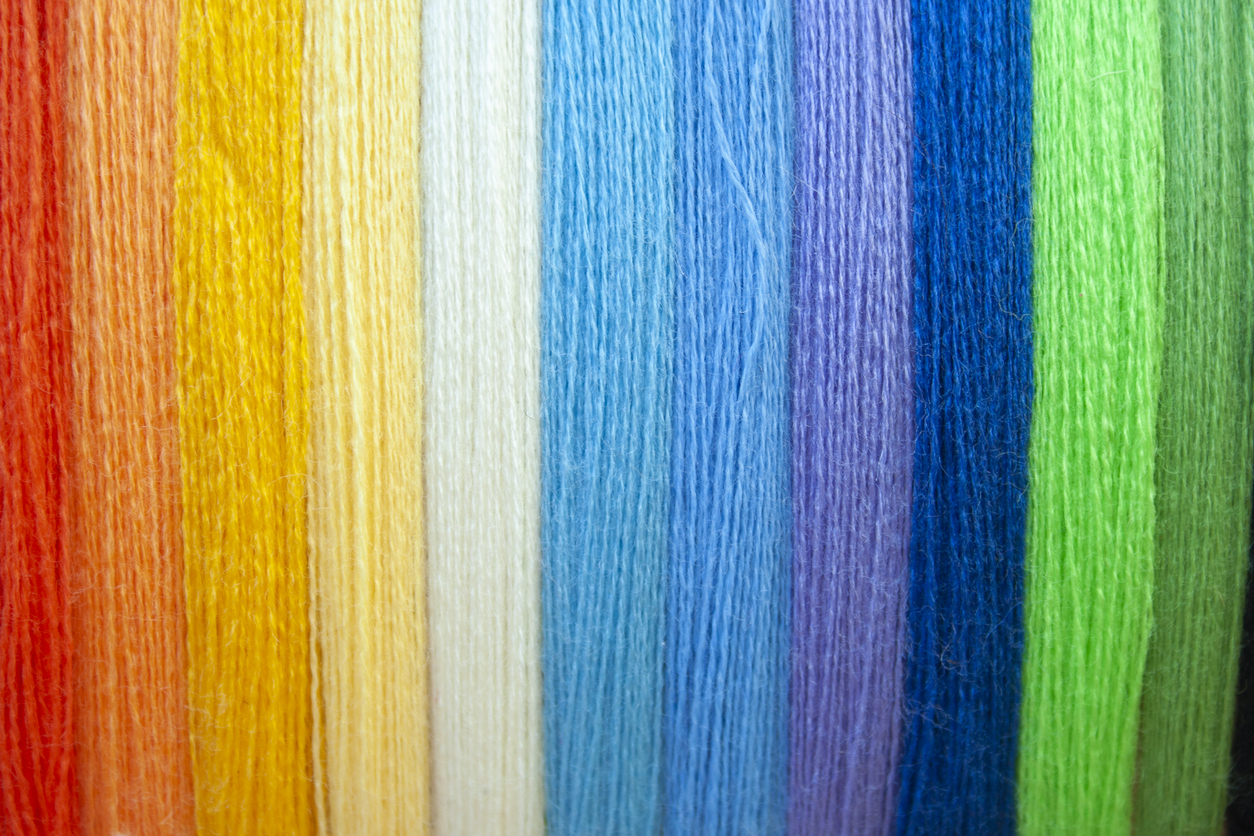 Rainbow coloured threads