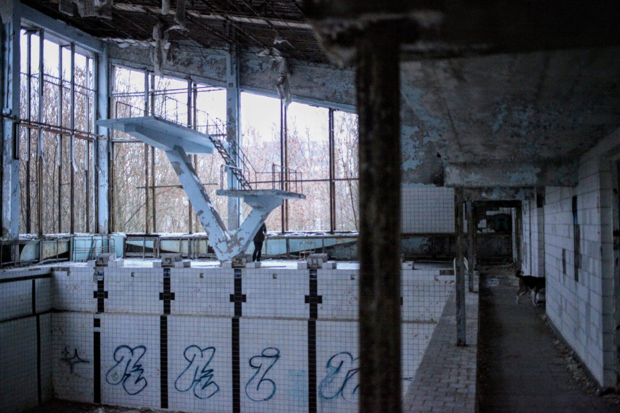 Chernobyl Tour: Pripyat's abandoned Basketball Court and Swimming Pool