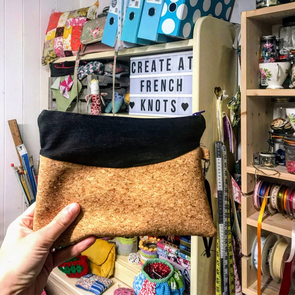 Finished cork and denim pouch at French Knots craft studio