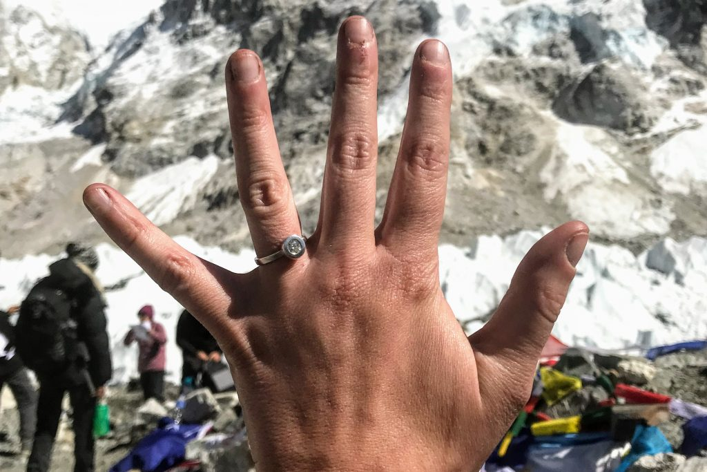 Wearing my ethical engagement ring at Everest Base Camp in Nepal