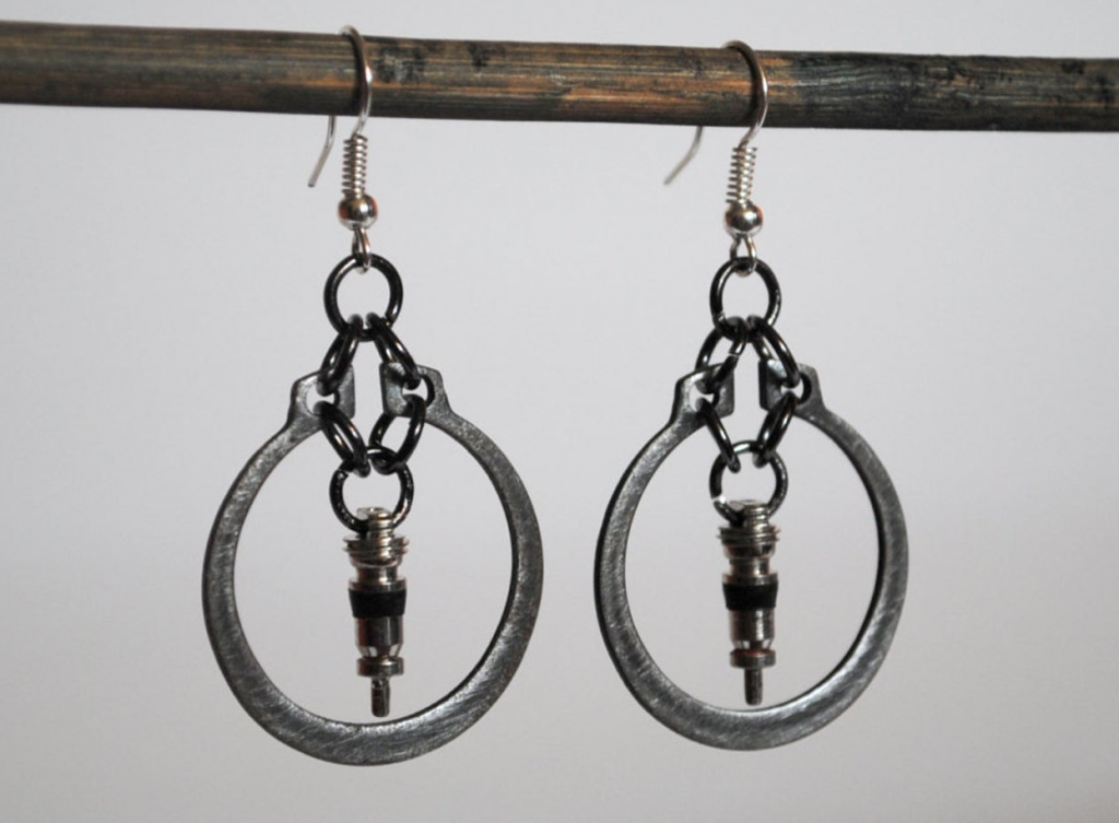 Upcycled junk earrings by Mostly Junk, Etsy