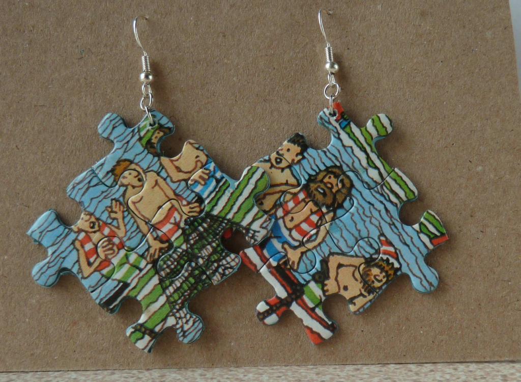 Upcycled jigsaw earrings by Pieces By Felicity, Etsy