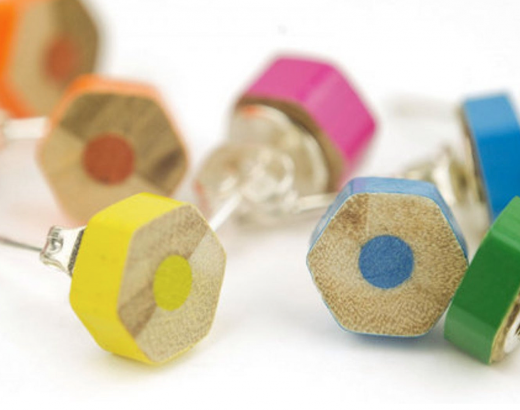 Upcycled pencil stud earrings by Lydia Swann Artist, Etsy
