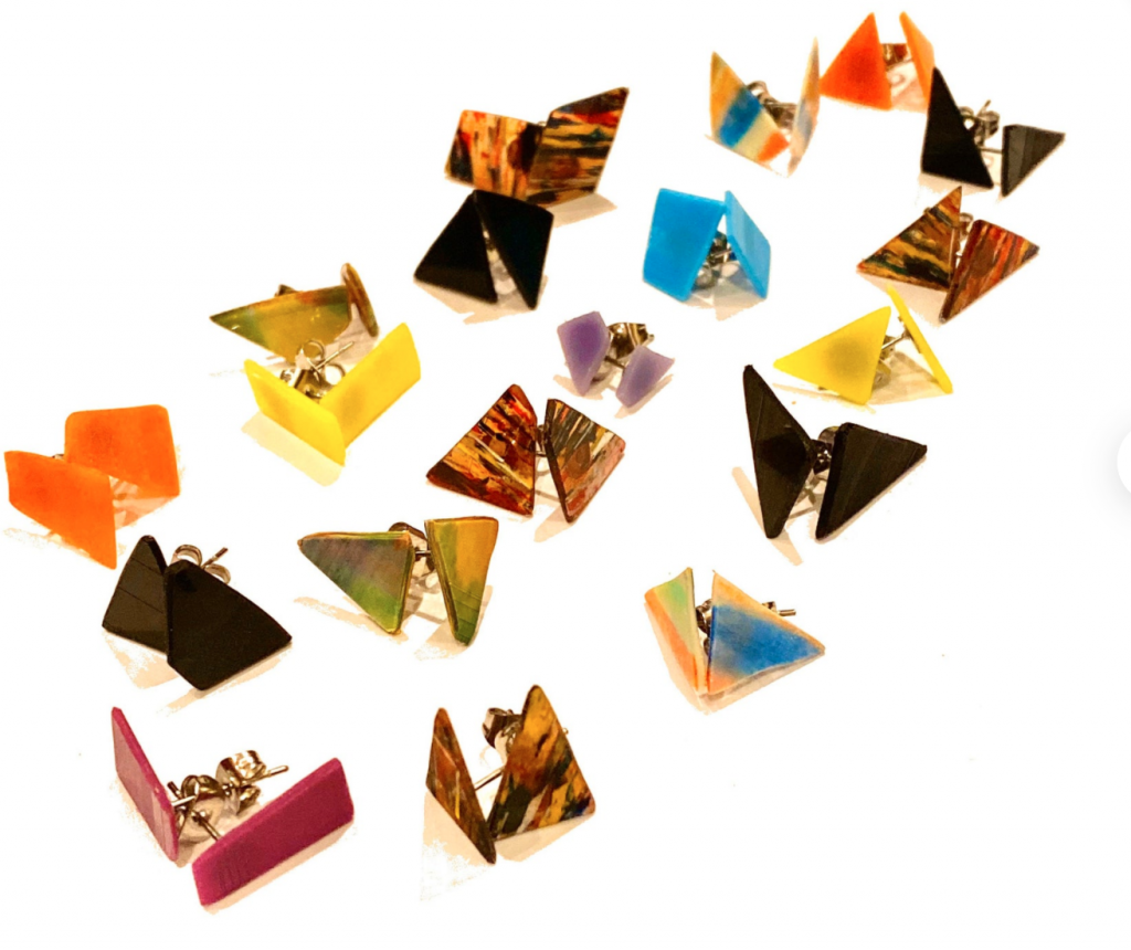 Vinyl studs by Nothing New by Ruthie Ru, Etsy