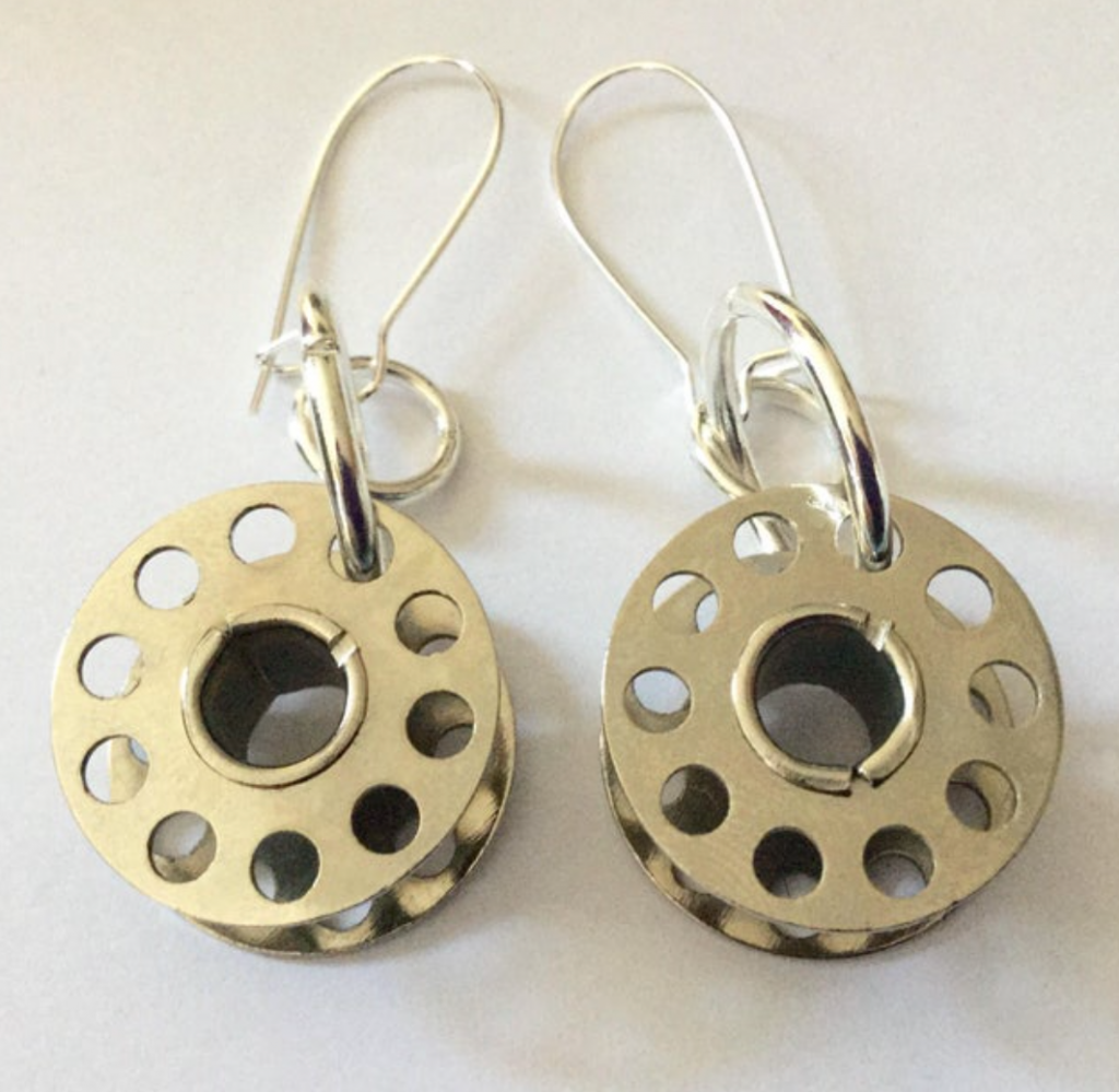 Cotton bobbin earrings by Dolly Decades, Etsy