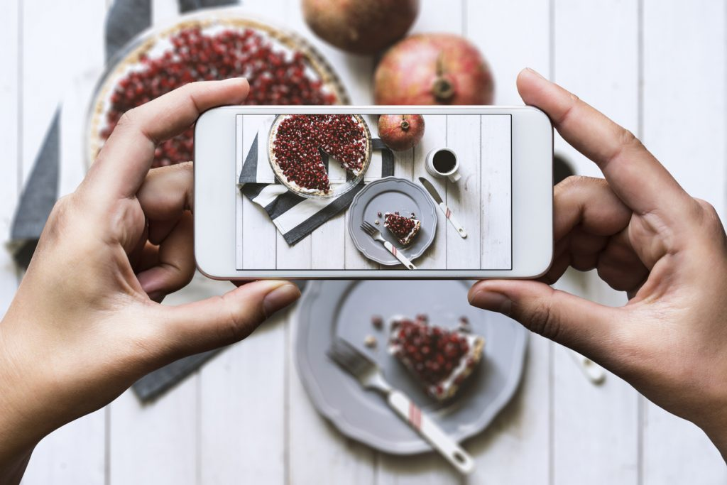 Taking a picture of food for Instagram