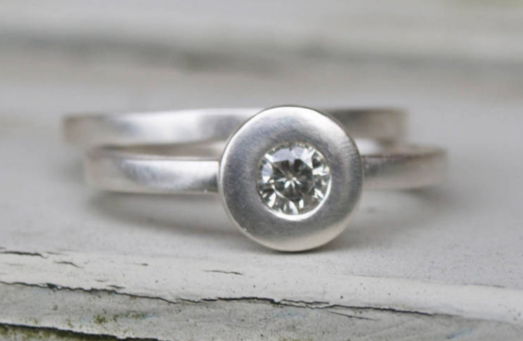 Ethical silver engagement ring set by Karen Johnson, Not on the High Street