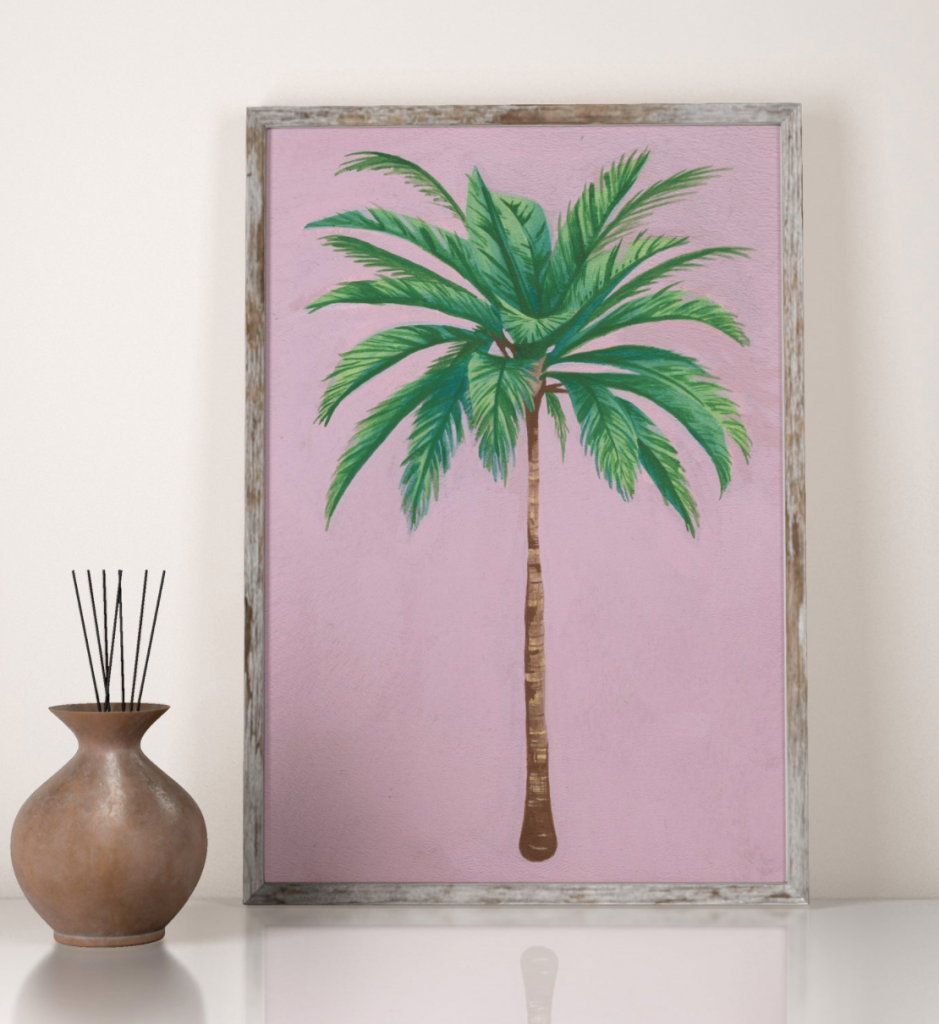 Palm tree art print, Helina Illustration, Etsy