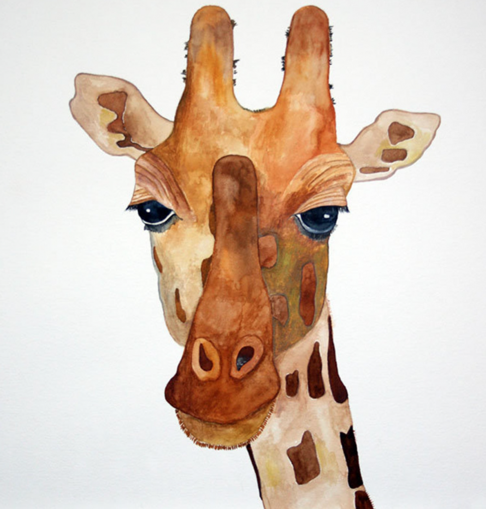 Giraffe watercolour painting, HJ Art Studio, Etsy