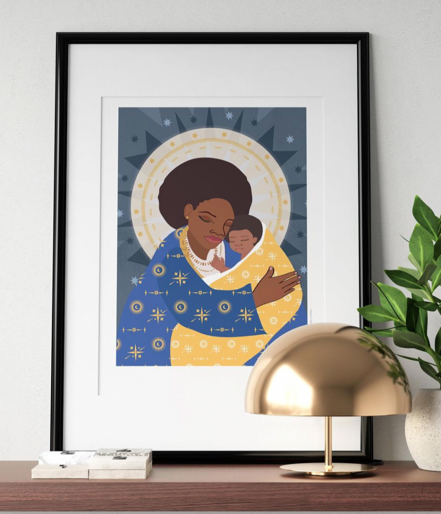Mother and child art print, Nyha Graphics, Etsy