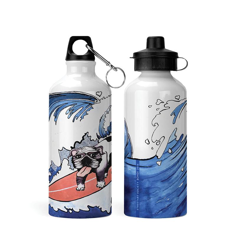 Kids Bottle - Surfer Doggo - White - 600ml - Handprinted