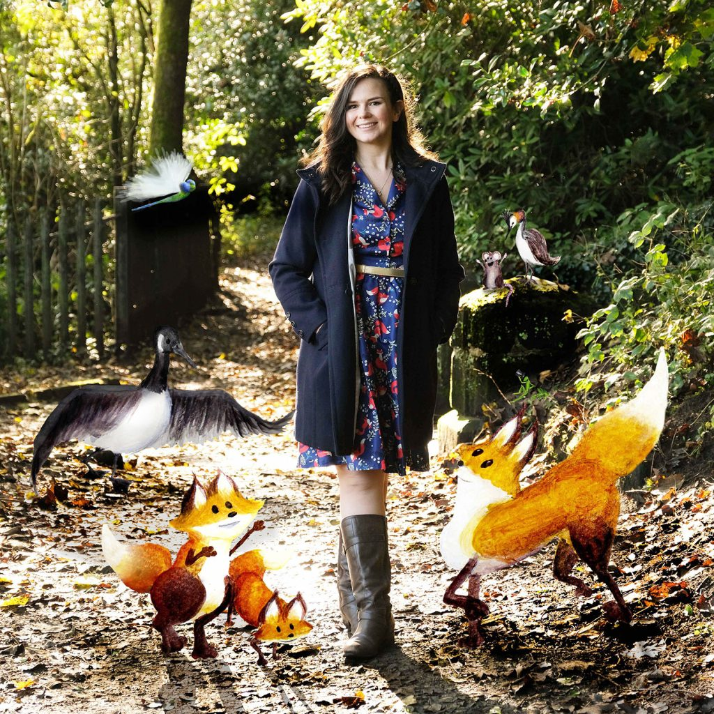 Author Sarah Parkinson with her characters the shoe foxes. Credit: Sarah Parkinson